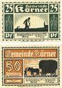 Banknotes Körner. Gemeinde. Série de 2 billets. 25 pf, 50 pf (1922)