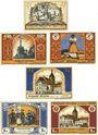 Banknotes Köslin (Koszalin, Pologne). Stadt. Série de 6 billets. 25 pf, 50 pf (2ex), 75 pf, 1 mark (2ex) 1921