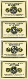Banknotes Köstritz. Gemeinde. Série de 4 billets. 50 pf (4ex) (1921)