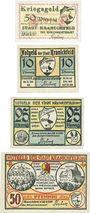 Banknotes Kranichfeld. Stadt. Billets. 50 pf 1918, 10 pf, 25 pf, 50 pf 22.2.1921