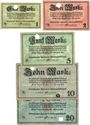Banknotes Kulmbach. Spinnerei A. G. Billets. 1, 2, 5, 10, 20 mark n.d. - 1.2.1919, annulation par perforation