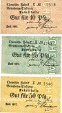 Banknotes Küppersteg. Chemische Fabrik Griesheim - Elektron. Série de 3 billets. 10, 25, 50 pf juillet 1917
