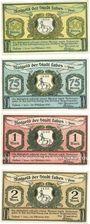 Banknotes Labes (Lobez, Pologne). Stadt. Billets. 50, 75 pf, 1 mark, 2 mark oct 1921