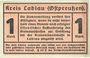 Banknotes Labiau (Polessk, Russie). Kreis. Billet. 1 mark n.d., annulation par perforation