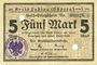 Banknotes Labiau (Polessk, Russie). Kreis. Billet. 5 mark n.d., annulation par perforation