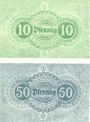 Banknotes Ladenburg. Stadt. Série de 2 billets. 10 pf, 50 pf 20.4.1919