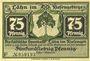 Banknotes Lähn (Wlen, Pologne). Städtische Sparkasse. Billet. 75 pf (1922), avec signature, sans date