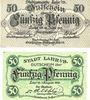 Banknotes Lahr. Stadt. Billets. 50 pf 12.6.1917, 50 pf 1.8.1920