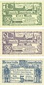 Banknotes Lampertheim a. Rh. Gemeinde. Billets. 1 mark, 2 mark, 5 mark 1.11.1918