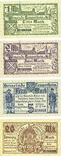 Banknotes Lampertheim a. Rh. Gemeinde. Billets. 1 mark, 2 mark, 5 mark, 20 mark 1.11.1918