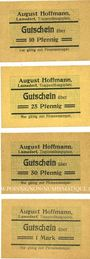 Banknotes Lamsdorf (Lambinowice, Pologne), Hoffmann August. Billets. 10, 25, 50 pf, 1 mark