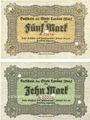 Banknotes Landau. Stadt. Billets. 5 mark, 10 mark 21.10.1918, annulation par perforation