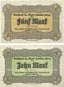 Banknotes Landau. Stadt. Billets. 5 mark, 10 mark 21.10.1918