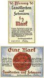 Banknotes Landkirche auf Fehmarn. Gemeinde. Série de 2 billets. 1/2 mark, 1 mark (1921)