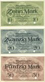 Banknotes Landsberg am Lech, Stadt, billets, 10 mark, 20 mark, 50 mark avril 1919