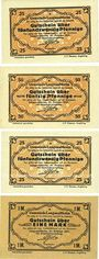 Banknotes Langenaltheim, Gemeinde, billets, 25 pf, 50 pf 27.2.1917 ; 25 pf, 1 mark 27.2.1917, sans cachet rev.