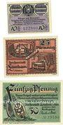 Banknotes Lauban (Luban, Pologne), Stadt, série de 3 billets, 10 pf, 25 pf, 50 pf oct 1920