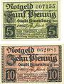 Banknotes Lauenburg i. P. (Lebork, Pologne), Stadt, billets, 5 pf, 10 pf (1919)