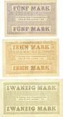 Banknotes Lauenburg i. P. (Lebork, Pologne), Stadt, série de 3 billets, 5, 10, 20 mark 15.11.1918
