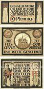 Banknotes Lauenstein, Gemeinde, série de 3 billets, 10 pf, 25 pf juin 1921, 50 pf n. d.