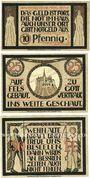 Banknotes Lauenstein. Gemeinde. Série de 3 billets. 10 pf, 25 pf juin 1921, 50 pf n. d.