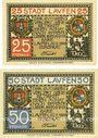Banknotes Laufen, Stadt, série de 2 billets, 25 pf, 50 pf 20.10.1920
