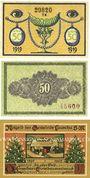 Banknotes Lauscha, Gemeinde, billets, 50 pf 1919, 50 pf février 1920, 50 pf avril 1921