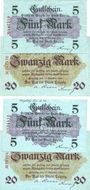 Banknotes Leipzig-Land, Stadt, billets, 5 mark (2ex), 20 mark (2ex) 12.10.1918