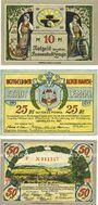 Banknotes Lemgo, Stadt, série de 3 billets, 10 pf, 25 pf, 50 pf 25.5.1921