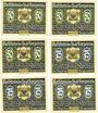 Banknotes Lenzen a. d. Elbe, Stadt, série de 6 billets, 50 pf (3ex), 75 pf (3ex) 1922