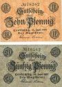 Banknotes Leobschütz (Glubczyce, Pologne), Stadt, billets, 10 pf, 50 pf 13.6.1917