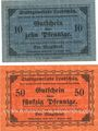 Banknotes Leobschütz (Glubczyce, Pologne), Stadt, billets, 10 pf, 50 pf n.d.