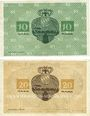 Banknotes Lichtenfels a. Main, Distriktsgemeinde, billets, 10 mk, 20 mk 8.11.1918, annulation manuscrite