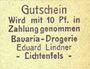 Banknotes Lichtenfels a. Main, Eduard Lindner, Bavaria-Drogerie, billet, 10 pfennig (1920)