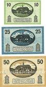 Banknotes Liebenwerda, Stadt, série de 3 billets, 10 pf, 25 pf, 50 pf (1920)