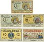 Banknotes Lilienthal, Sparkasse, billets, 25 pf 31.3.1921, 25, 50 pf 15.4.1921, 50, 75 pf 15.5.1921