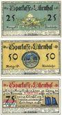 Banknotes Lilienthal, Sparkasse, billets,  25 pf, 50 pf, 75 pf 15.5.1921, série H
