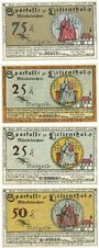 Banknotes Lilienthal, Sparkasse, billets 75 pf 15.3.1921 série E, 25 pf 31.3.1921 série E, 25, 50 pf 15.4.1921