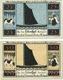 Banknotes Lilienthal, Sparkasse, série de 2 billets, 25 pf, 50 pf 1.2.1921