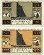 Banknotes Lilienthal, Sparkasse, série de 2 billets, 25 pf, 50 pf 2.1.1921