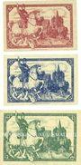 Banknotes Limburg a. d. Lahn, Stadt, série de 3 billets, 10 pf, 25 pf, 50 pf 1.11.1918