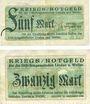 Banknotes Lindau und Weiler, Distriktsgemeinde, billets, 5 mark, 20 mark 10.10.1918