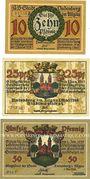 Banknotes Lindenberg i. Allgäu, Stadt, billets, 10 pf, 25 pf, 50 pf 1.5.1918