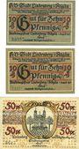 Banknotes Lindenberg i. Allgäu, Stadt, billets, 10 pf  (2ex)(numérotaion 4 & 3mm de haut) 50 pf (n° 4mm haut)