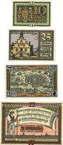 Banknotes Lingen, Stadt, billets, 10 pf n.d., 25 pf, 50 pf 1.4.1921, 75 pf 1.9.1921