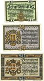 Banknotes Lingen. Stadt. Billets. 10 pf n.d., 25 pf, 50 pf 1.4.1921