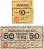 Banknotes Linz am Rhein, Stadt, billets, 10 pf 1917, 50 pf 1.7.1917