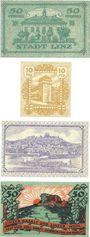 Banknotes Linz am Rhein, Stadt, billets, 50 pf 1.4.1919, 10 pf, 25 pf 1.7.1920, 50 pf 1.4.1919 (1921)
