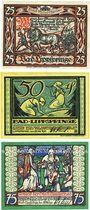 Banknotes Lippspringe, Bad, Stadt, série de 3 billets, 25 pf, 50 pf, 75 pf 28.5.1921
