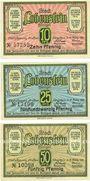 Banknotes Lobenstein. Stadt. Série de 3 billets, 10 pf, 25 pf, 50 pf 15.3.1921